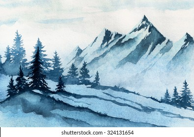 Watercolor illustration. Winter mountains landscape, trees, sky.