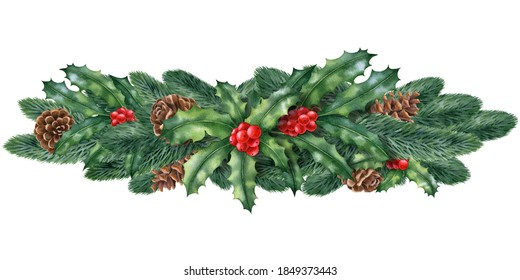 Watercolor illustration with winter plants,cones, holly isolated on the white background.Hand painted watercolor clipart. Christmas composition, new year holiday.