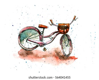 Watercolor illustration of woman bicycle with basket. Stylish sketch with paint blot background