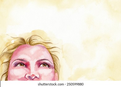 Watercolor illustration, woman looking up