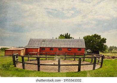 Watercolor illustration of wooden corral for horse dressage against a blue sky on a sunny day. Grass paddock on farmland with wooden fence