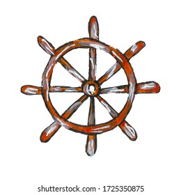 Watercolor illustration of a wooden ship's rudder on a white background.