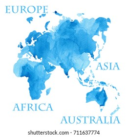 Watercolor illustration of world map parts like Europe, Asia, Africa and Australia painted in blue ink color splash isolated on white background