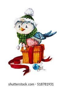 watercolor illustration with xmas bullfinch