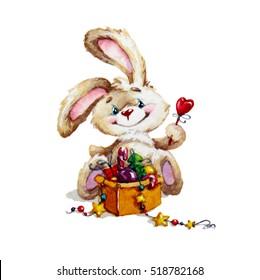 watercolor illustration with xmas bunny