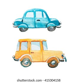 watercolor illustration of yellow car and blue car on white background