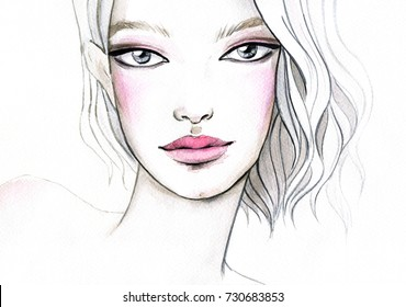 Watercolor illustration of a young beautiful blond woman.