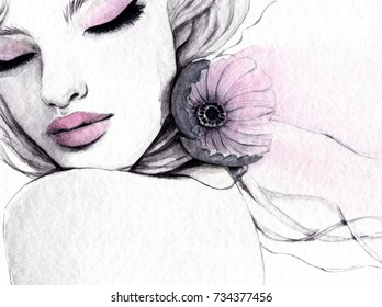 Watercolor illustration of a young beautiful woman with a flower on her neck.