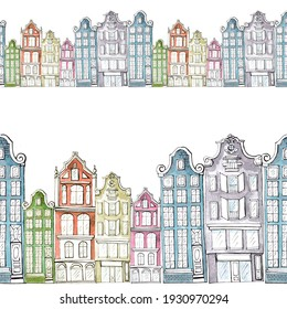 watercolor illustration,cheerful colored Amsterdam houses,seamless border