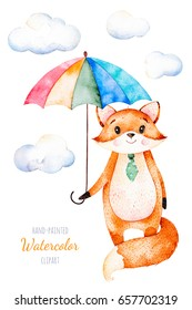 Watercolor illustration.Cute little Fox with multicolored umbrella and fluffy clouds .Perfect for your unique designs,greeting card,blog,pattern,baby shower party,invaitation,baby cards,birthday