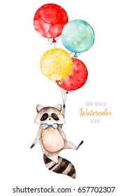 Watercolor illustration.Cute little Racoon with multicolored balloons .Perfect for your unique designs,greeting card,blog,pattern,baby shower party,invaitation,baby cards,birthday and more