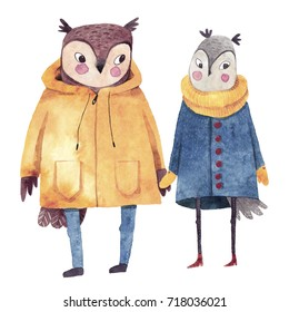 Watercolor illustrations with birds. Two owls in love. Hand drawn watercolor painting. Hipster animals in coats.