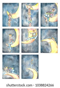 "Watercolor illustrations of a book called ""Over the moon""."
