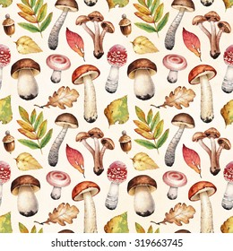 Watercolor illustrations of mushrooms and leaves. Seamless pattern