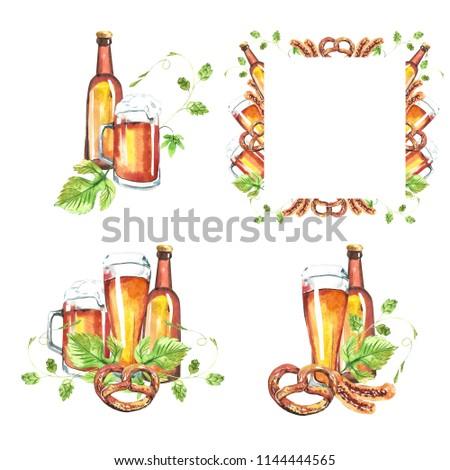 Watercolor Illustrations Oktoberfest Set Beer Bottles Stock ...