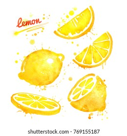Watercolor illustrations set of whole, half and sliced lemon with paint splashes.