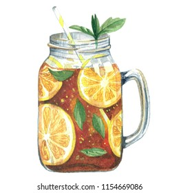 Watercolor illustrations of tea with lemon and mint in mason jar isolated on white background closeup handmade. Elements to design menu or cards.