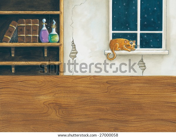 A watercolor illustration/sketch (created by myself as the artist) an interior scene with book shelves, wooden surface, and a grumpy cat sitting on a window ledge.