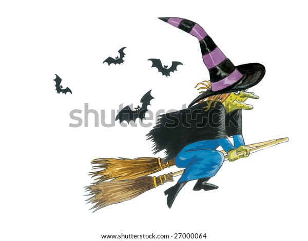 A watercolor illustration/sketch (created by myself as the artist) of a green faced witch with witches hat, flying on a set of broomsticks, with bats flying around.
