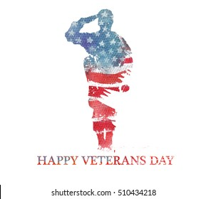 Watercolor illustration.Veterans day. America, USA flag. Text Happy Veterans Day.