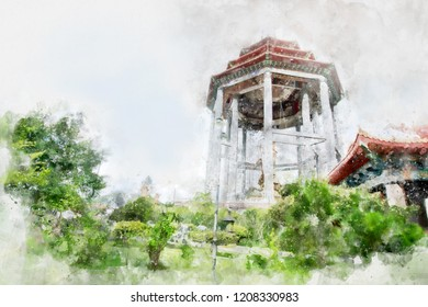 Watercolor image of beautiful architecture of  Chinese Temple at Penang, Malaysia.