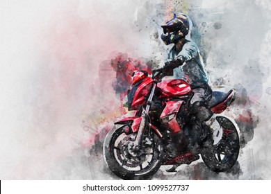 Watercolor image of Beautiful portrait of Thailand biker on motorbike.