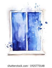 Watercolor image of blue window with paint splashes in white frame with cornice on white background. Hand drawn illustration of classic euro window of rectangular shape.