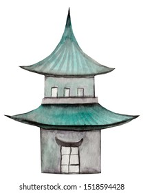 A watercolor image of Chinese gillies on a white background. Illustration of elements of Chinese culture drawn by hand