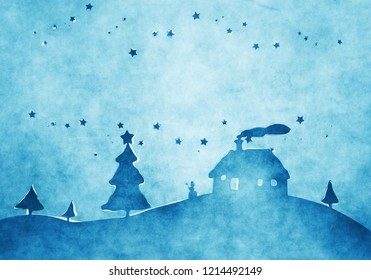 A watercolor image of a nice blue christmas background