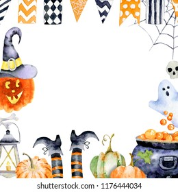 Watercolor images of halloween attributes. Cobweb, hat of witch and pumpkins