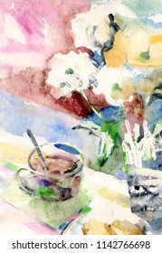Watercolor impression painting Breakfast with cup of coffee