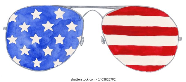 Watercolor Independence Day Glasses Illustration, Independence Day Glasses Clipart