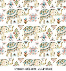 Watercolor indian elephant with tribal ornament elements. Ornate elephant seamless pattern on white background in bohemian style. Hand drawn illustration for design in tribal or boho styles