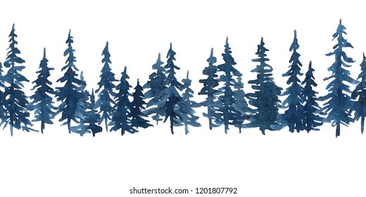 Watercolor indigo blue pine trees. Christmas and New Year horizontal seamless pattern