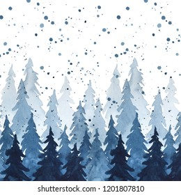 Watercolor indigo blue pine trees and snowfall. Christmas and New Year illustration