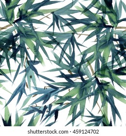 Watercolor and ink bamboo leaves pattern in style sumi-e, u-sin. Oriental traditional painting. Seamless pattern.