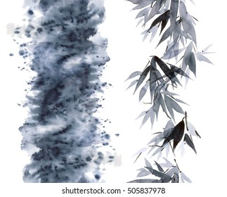 Watercolor and ink bamboo leaves pattern and abstract smoke in style sumi-e, u-sin. Oriental traditional painting. Seamless pattern.