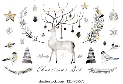 Watercolor and ink Christmas collection. Hand painted illustartions for cards, posters, greeteings.