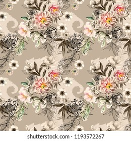 Watercolor and ink doodle flowers, leaves, weeds on paisley silhouette seamless pattern. Floral background with peonies, anemones, ranunculus, dog rose branch, meadow herbs, monochrome indian ornament