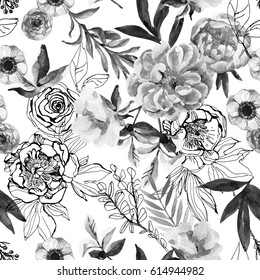 Watercolor and ink doodle flowers, leaves, weeds seamless pattern. Hand painted, drawn floral background with peonies, anemones, ranunculus, dog rose branch, meadow herbs in monochrome colors