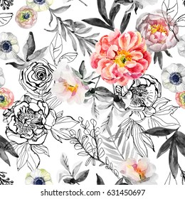 Watercolor and ink doodle flowers, leaves, weeds seamless pattern. Hand painted, drawn floral background with peonies, anemones, ranunculus, dog rose branch, meadow herbs