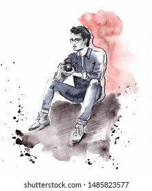 Watercolor and Ink Hand painted Illustration of a Handsome imaginary man photographer sitting holding camera, Monotone Sketch, with paint splashes