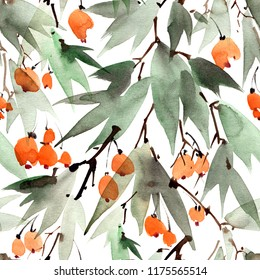 Watercolor and ink illustration of berries, leaves and tree branches, decorative artistic painting, sumi-e and u-sin gohua oriental traditional paintind, seamless pattern on white background