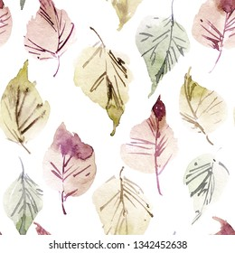 Watercolor and ink illustration of birch tree leaves, sumi-e and u-sin painting, seamless pattern