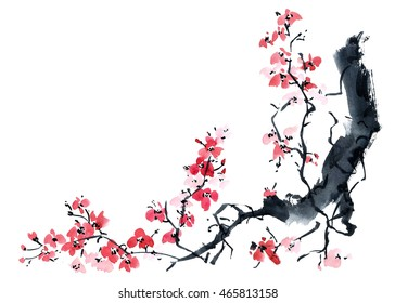 Watercolor and ink illustration of blossom sakura tree in style sumi-e, u-sin. Oriental traditional painting