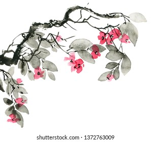 Watercolor and ink illustration of blossom tree branch with flowers. Oriental traditional painting in style sumi-e, u-sin. Artistic illustration.