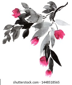 Watercolor and ink illustration of blossom tree - brunch with leaves and flowers. Oriental traditional painting in style sumi-e, u-sin. Background for decorative card, invitation or cover.
