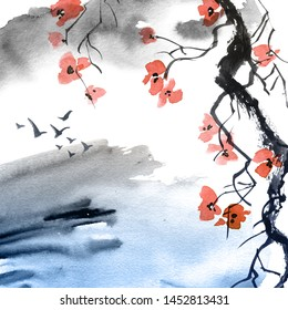 Watercolor and ink illustration blossom tree branch with flowers and abstract watercolor background with birds. Art in style sumi-e, u-sin. Oriental traditional painting.