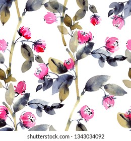 Watercolor and ink illustration of branches with leaves and flowers, sumi-e and u-sin painting, seamless pattern