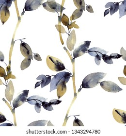 Watercolor and ink illustration of branches with leaves, sumi-e and u-sin painting, seamless pattern